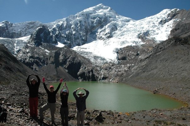 Geography members in Peru spelling out O-H-I-O.
